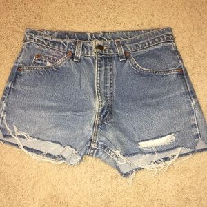 Levi's High Waited Distressed Shorts